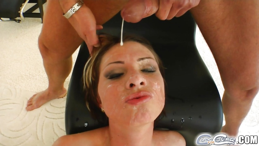 Saucy Gabriella May gets her face soaked with thick cum