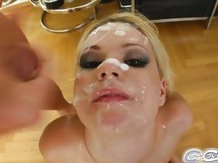 Yasmine Gold gets her face showered with thick cum