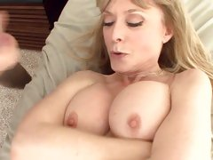 Big boobed blonde milf Nina Hartley in stockings