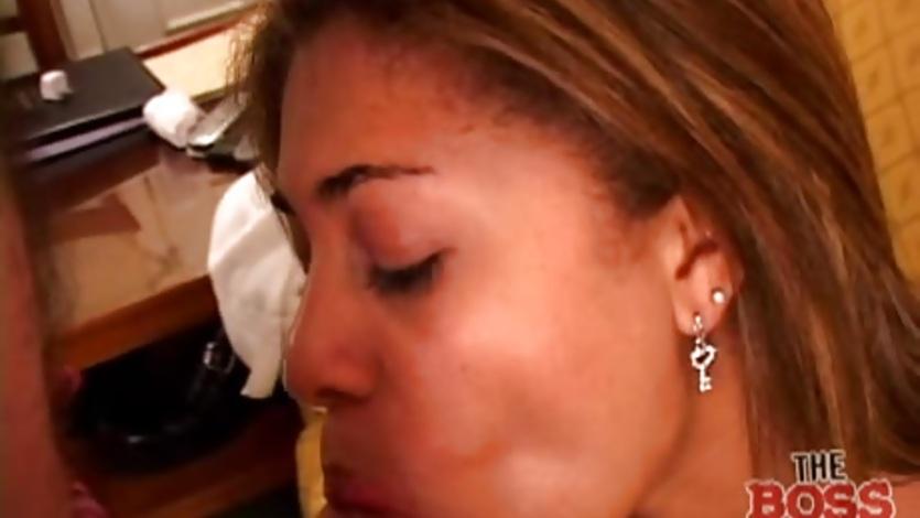 Close up Latina blowjob action