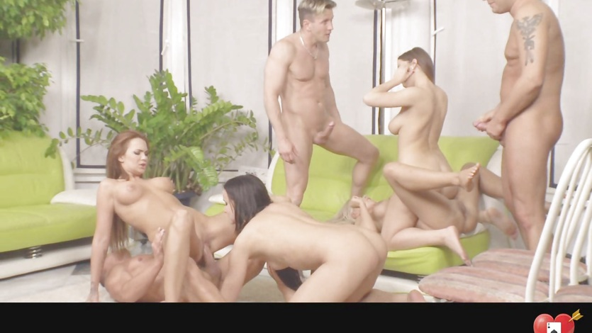 Strap on and group sex six times over