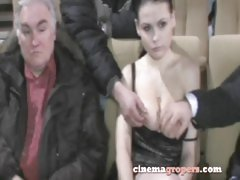 Big boobed babe groped in the cinema