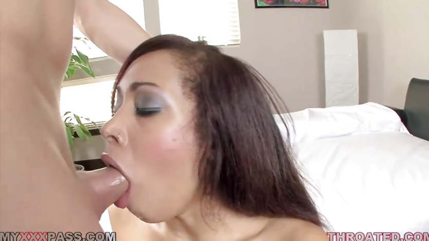 Serena Ali chokes on this hard throbbing cock