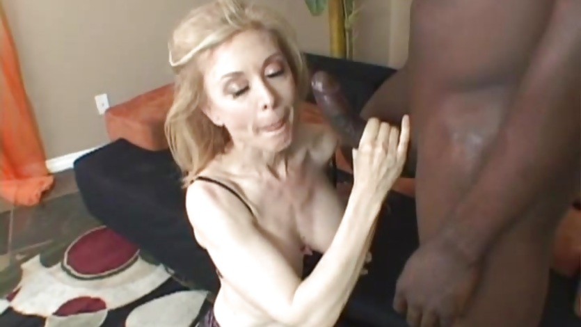 Raunchy Nina Hartley gets plastered with thick cum