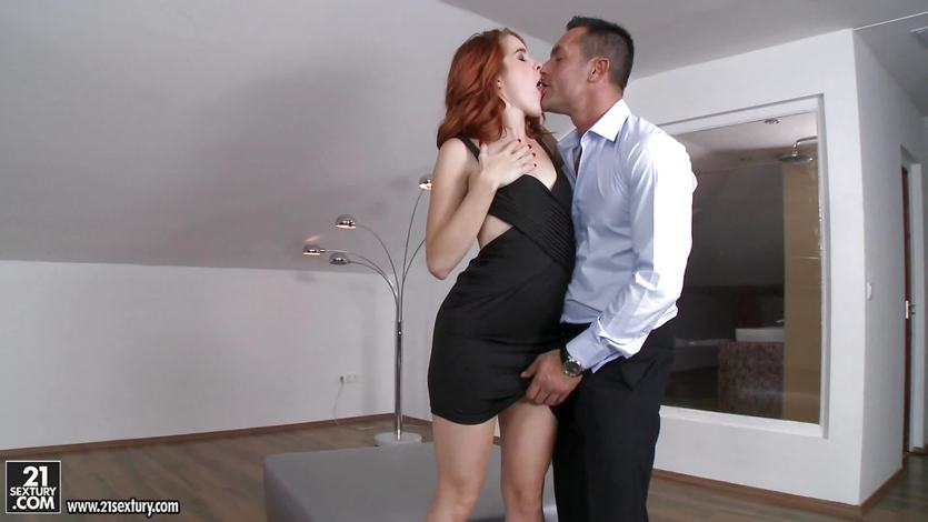 Redhead Amarna Miller is stuffed in the lounge