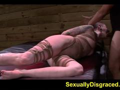 Tied up Sheena Rose devours this hard dick