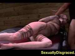 Tied up Sheena Rose devours this hard dick