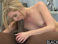 BLACKED Skinny Blonde Teen Stretched by Big Black Dick