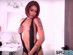 Skin Diamond slurps over his hard penis