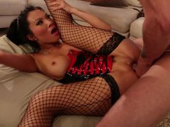 Femdom honey Asa Akira bangs her dirty slave