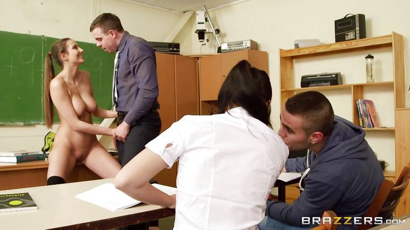 Cute Connie Carter gets her hands on the teacher