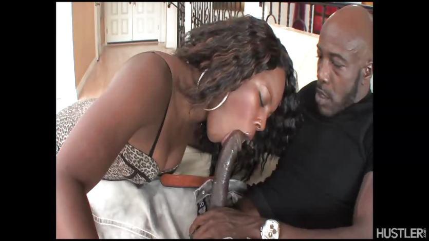 Ebony babe drools over this hard dick