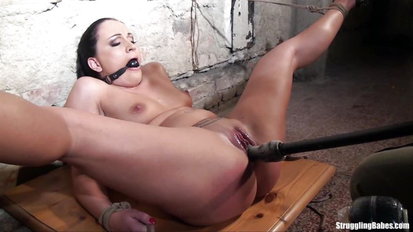 Dominated Clair Brooks gets her pussy dildo fucked