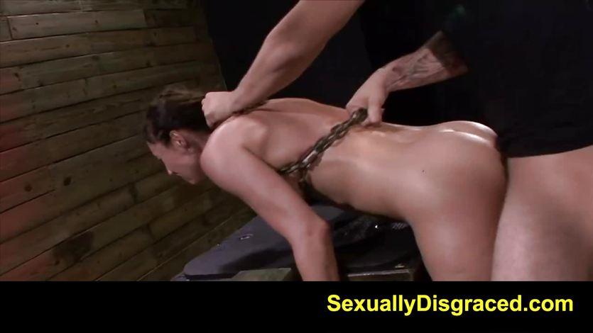 Bound Fiona Rivers enjoys getting her moist pussy slammed