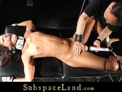 Bound babe Vivien Bell gets her warm pussy vibed