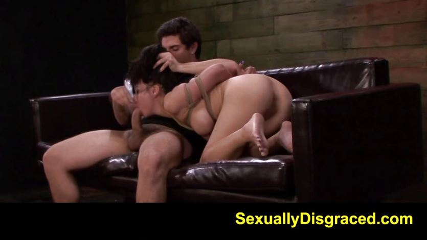 Bound Kimmy Lee chokes on this  hard dick