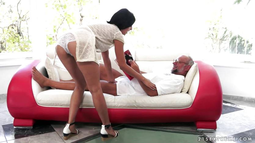 Grandpa pulls at the panties of Coco de Mal with his teeth
