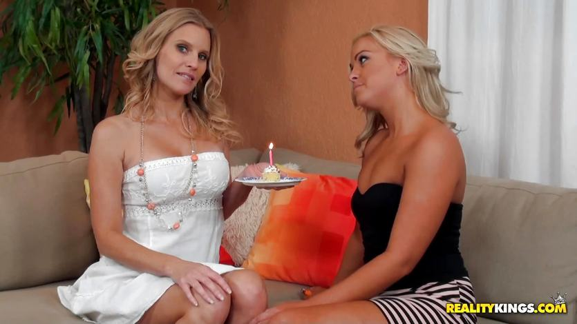 Brianna Rays birthday surprises get her all moist downstairs