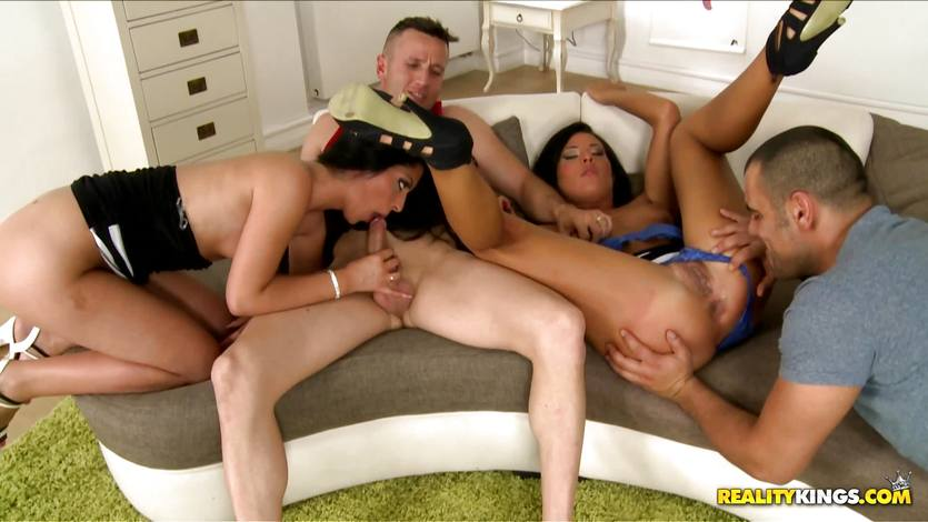 Maria Fiori and Vivien Bell ride two lucky guys boners to the point they explode their dick milk over them