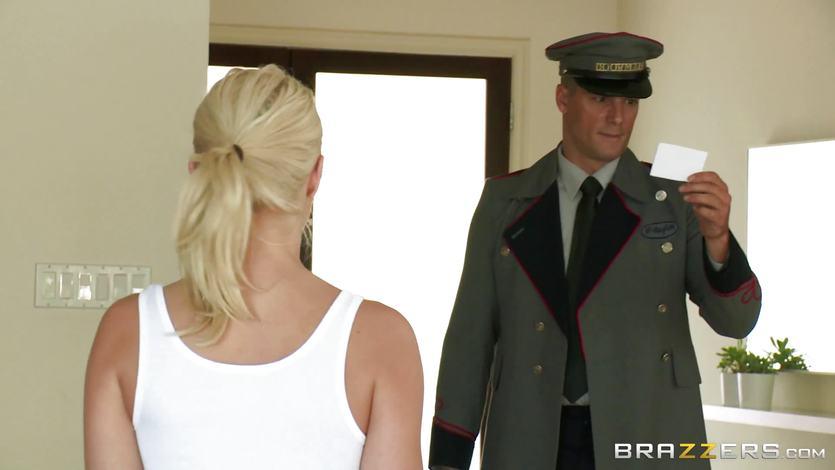 Anikka Albrite fucks a sexy doorman