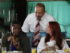 Redhead Janet Mason fucked by black stepson on the table