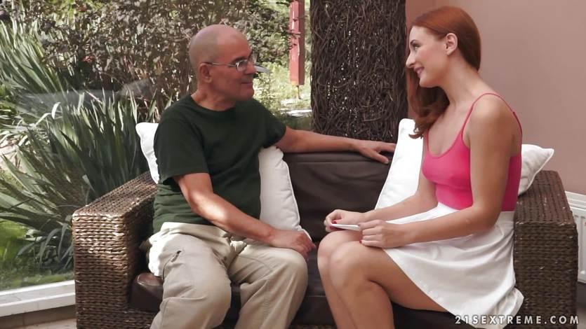 Old professor fucks his sexy redhead student Eva Berger