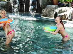 Kendall Kayden and Aubrey Star playing sexy water games