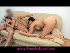 Sensual agents show of their cock sucking skills