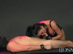 Mistress sucks her subs hard cock