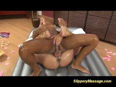 Gina Devine and Isabella Chrystin enjoy slippery massage