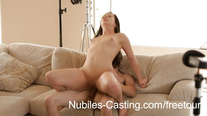 Hot brunette bounces her pussy on this hard cock