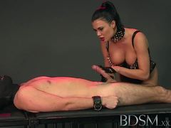 Dominant mistress loves teasing subs hard cock