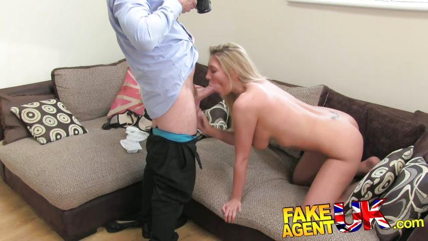 Racy blonde throat fucks this hard cock