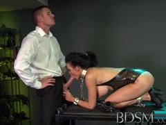 Dominated beauty gets her mouth filled with hard cock