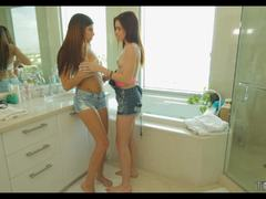 Brunettes Ava Taylor and Emma Stoned bathroom to bed fuck