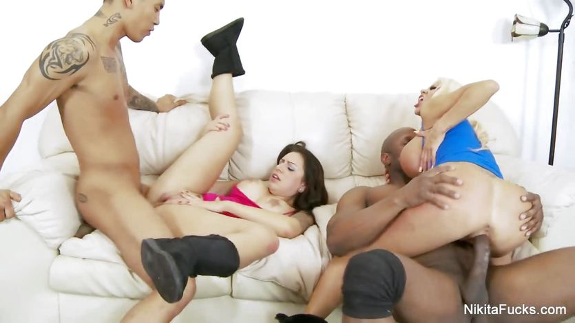 Wild foursome with Nikita Von James