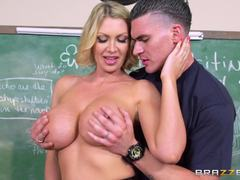Busty teacher Leigh Darby helps out a struggling student
