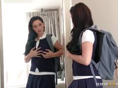 Naughty schoolgirl Noelle Easton gets two dudes dicks