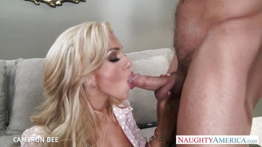 Hottie Cameron Dee devours this hard cock