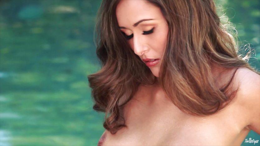 Poolside masturbation with the gorgeous Anastasia Black
