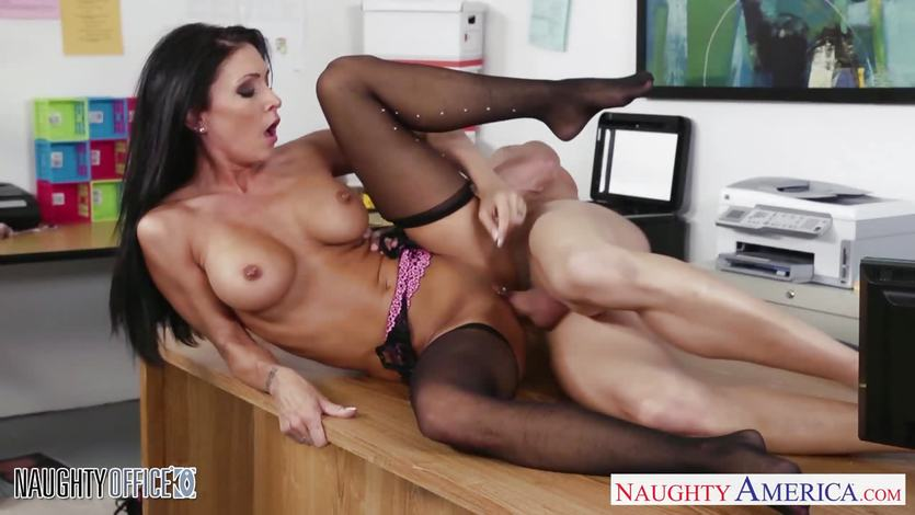 Stocking clad Jessica Jaymes fucked hard and rough