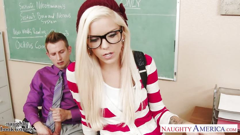Geeky naughty school girl Halle Von
