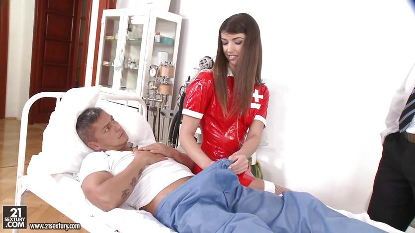 Susan Ayn in a latex nurse outfit gets doctor and patient