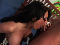 Kerry Louise gobbles down this hard cock