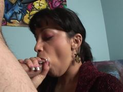 Abella Anderson stuffs her mouth with hard cock