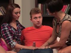Mandy Muse and Shay Fox fuck a lucky dick
