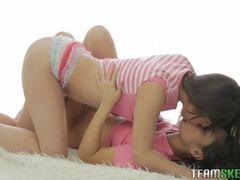 Cute brunette teen girls clit rubbing