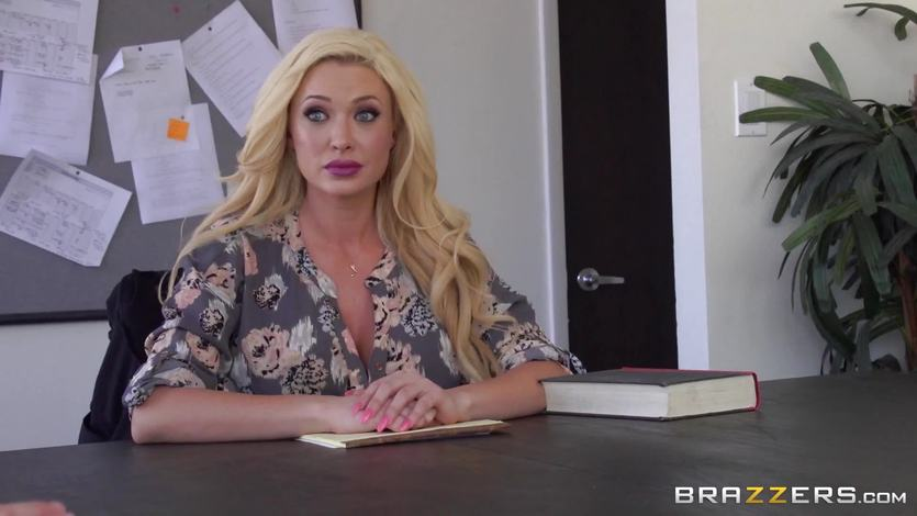 Hot blonde teacher fucks her student