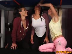 Carla Cox and friends tug on this hard cock