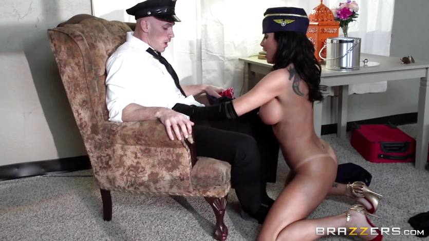 Horny air hostess Lezley Zen fucks her big dicked client